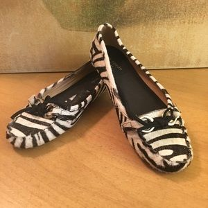 Kate Spade Zebra Hair Calf Driving Moccasins Flats